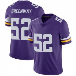 Nike Chad Greenway Minnesota Vikings Limited Purple Team Color Vapor Untouchable Jersey - Youth